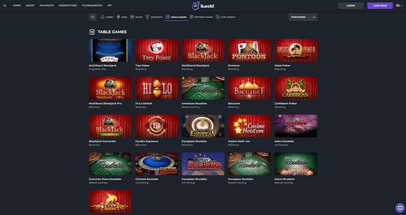 iLucki Casino Table Games
