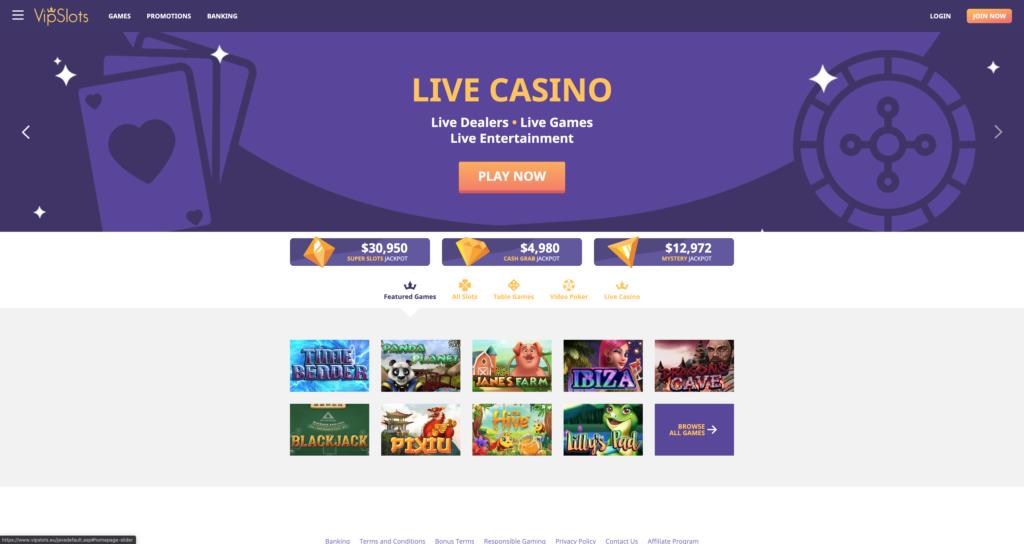 VipSlots Casino Lobby