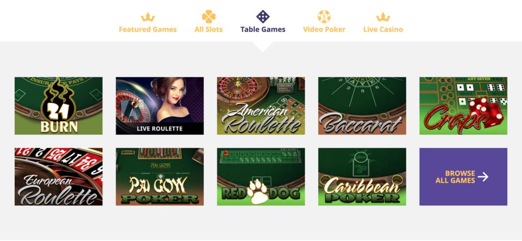 VipSlots Casino Table Games