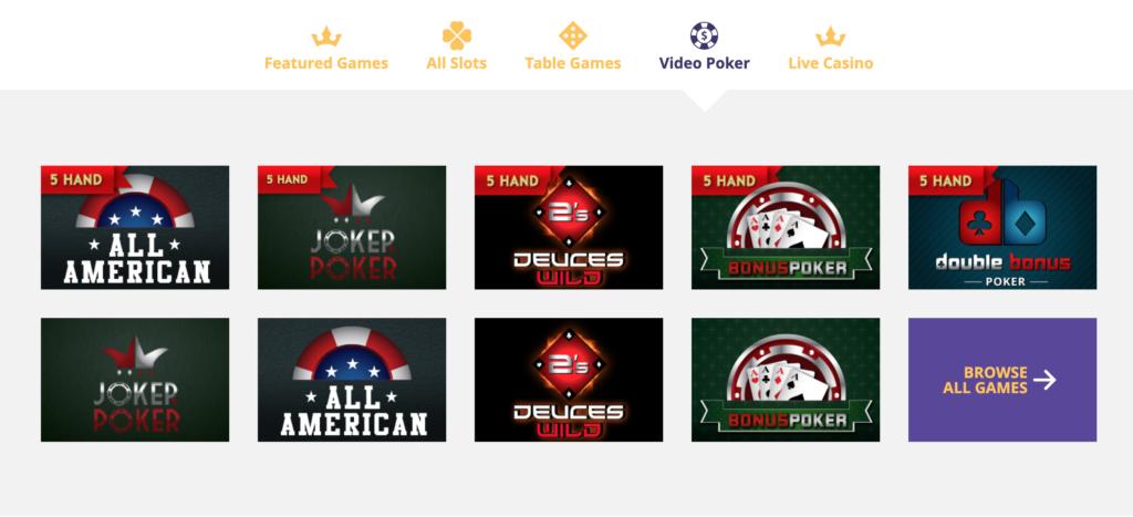VipSlots Casino Video Poker