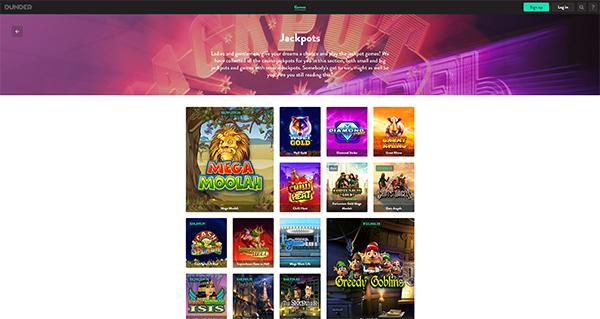 Dunder Casino Jackpots screenshot