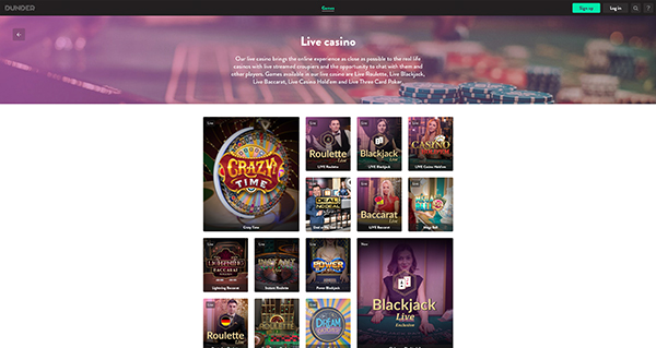 Dunder Casino Live screenshot